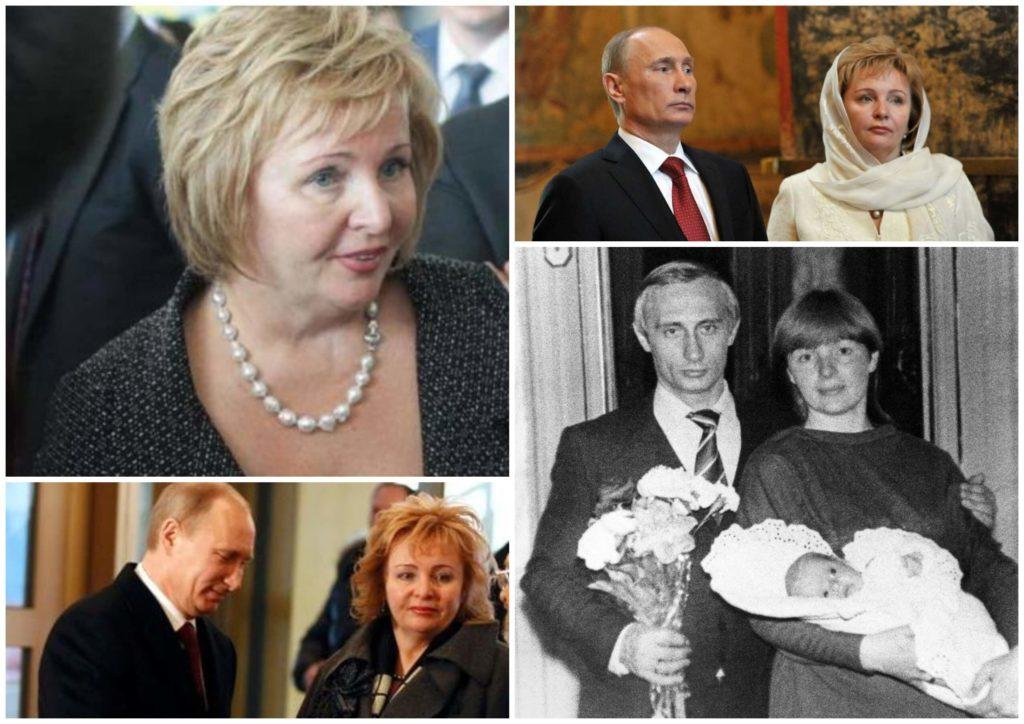 На фото изображена Людмила Путина одна и вместе с Владимиром Путиным.