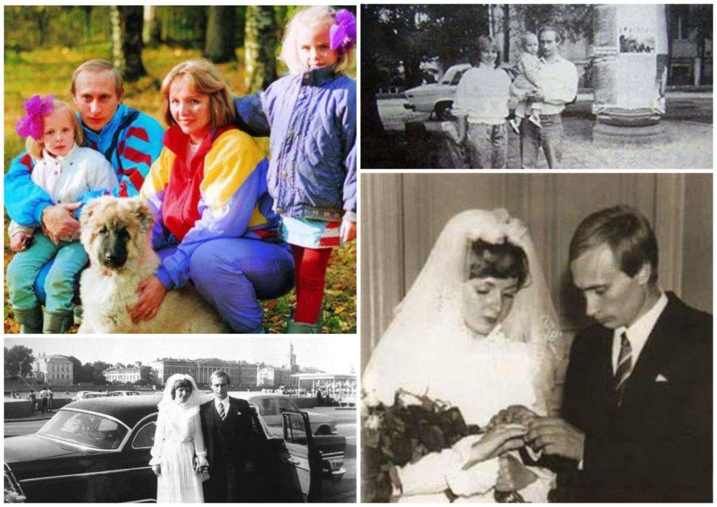 На фото изображено семейство Путиных в молодости и их свадьба.