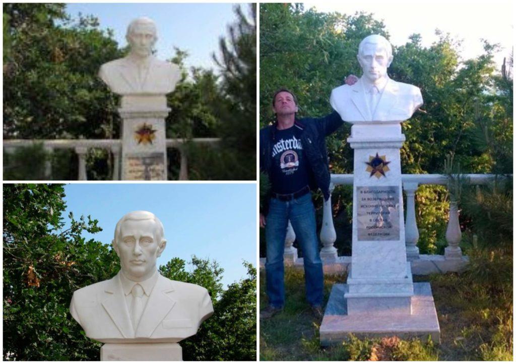 На фото изображен памятник Путину в Новоросийске.