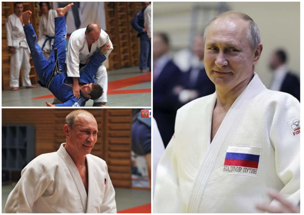 На фото изображен Владимир Путин на занятиях по дзюдо.
