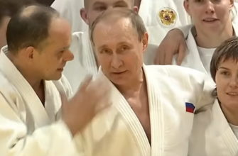 Владимир Путин с дзюдоистами.