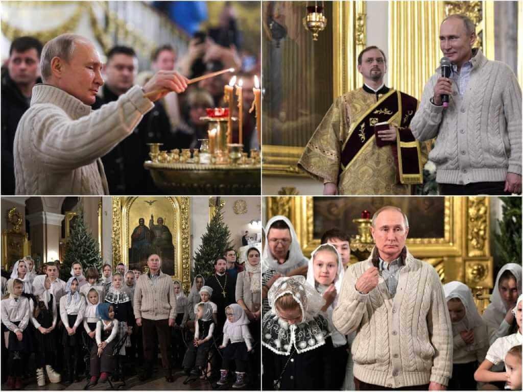 На фото Путин в Спасо-Преображенском Соборе (часть 2).