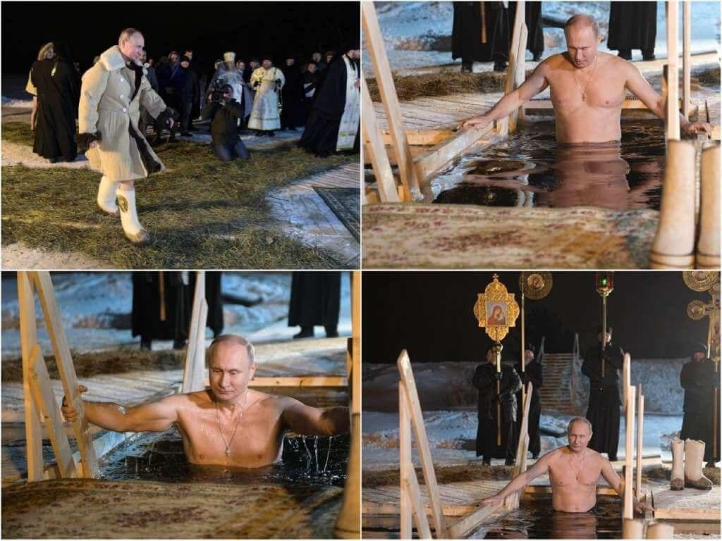 На фото Путин купается в проруби.