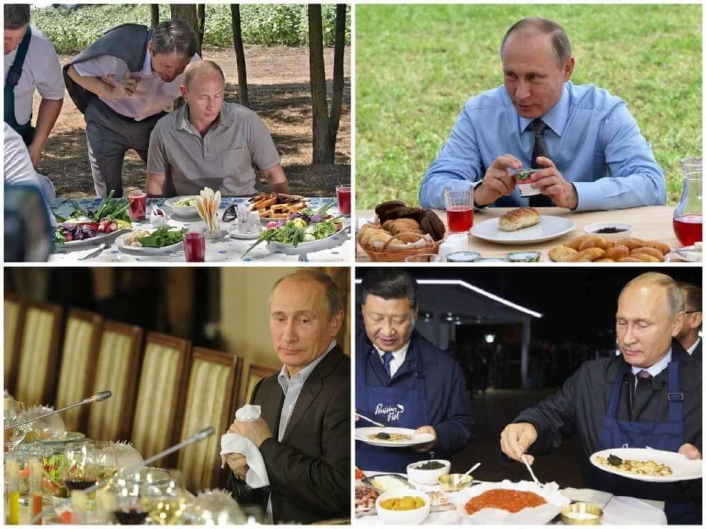 На фото Путин ест.