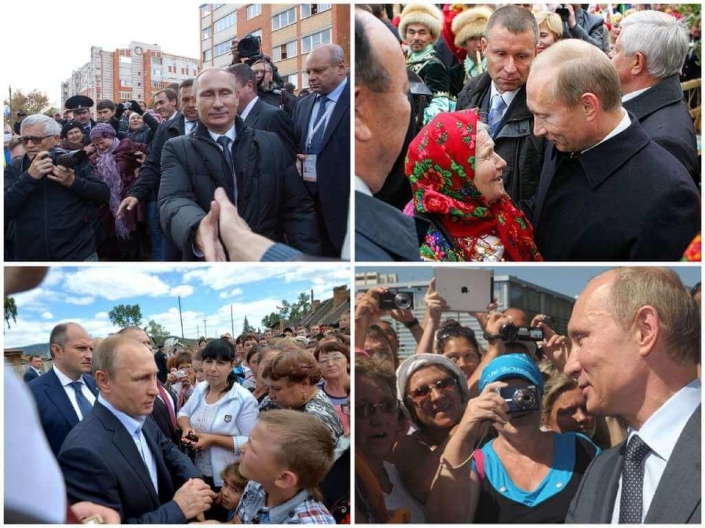На фото Путин встречается с гражданами РФ.