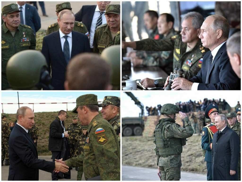 На фото Путин и армия РФ.