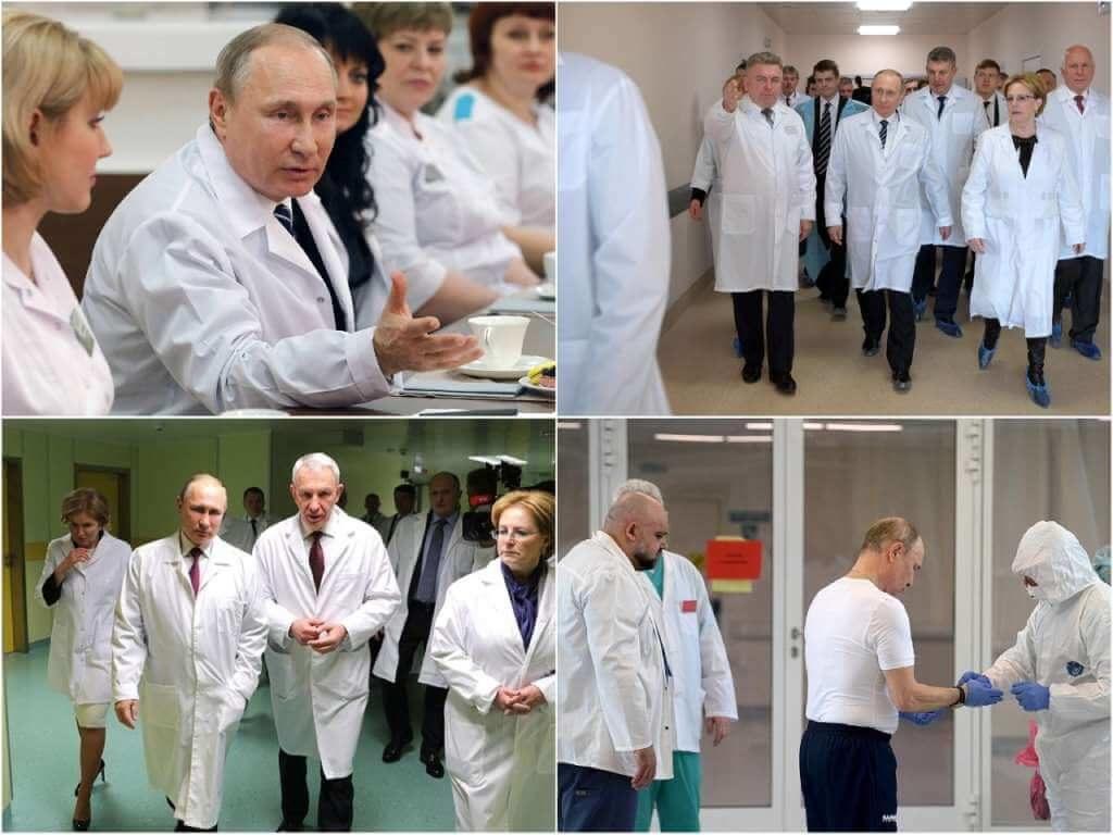 На фото Путин с медиками.