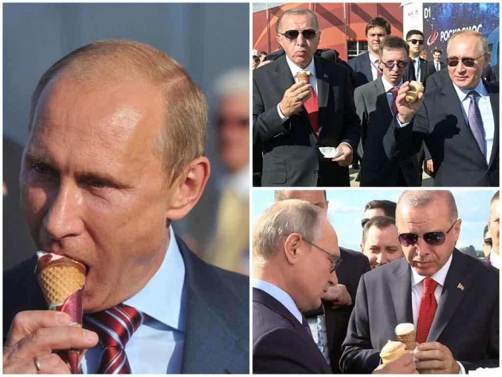 На фото Путин ест мороженое.