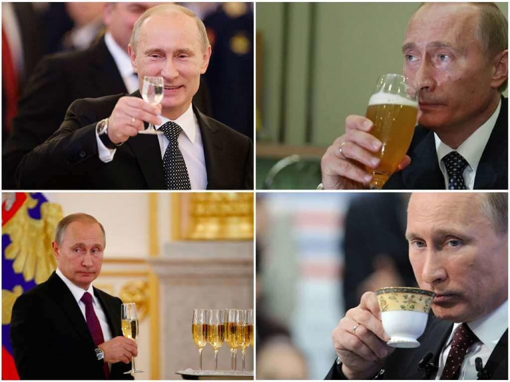 На фото Путин пьет напитки.