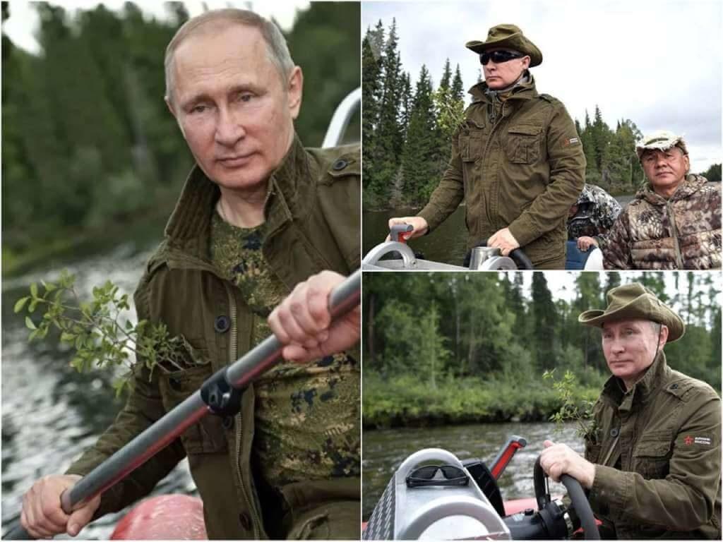 На фото Путин с веткой в кармане.