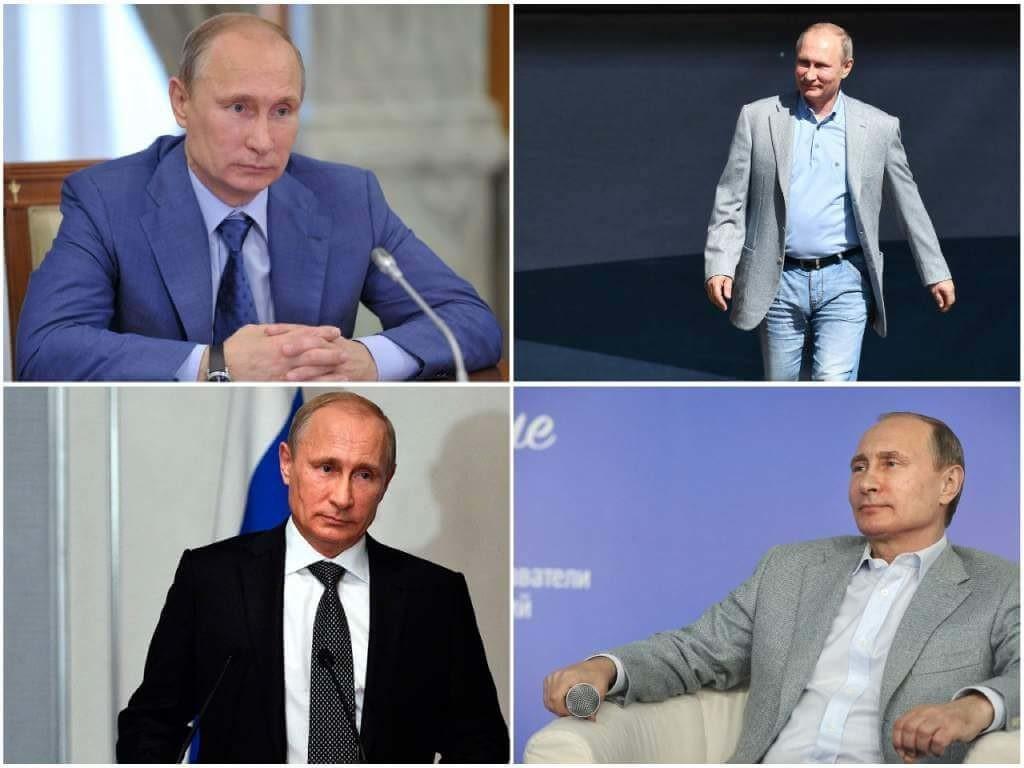 Путин в костюмах разных цветов.