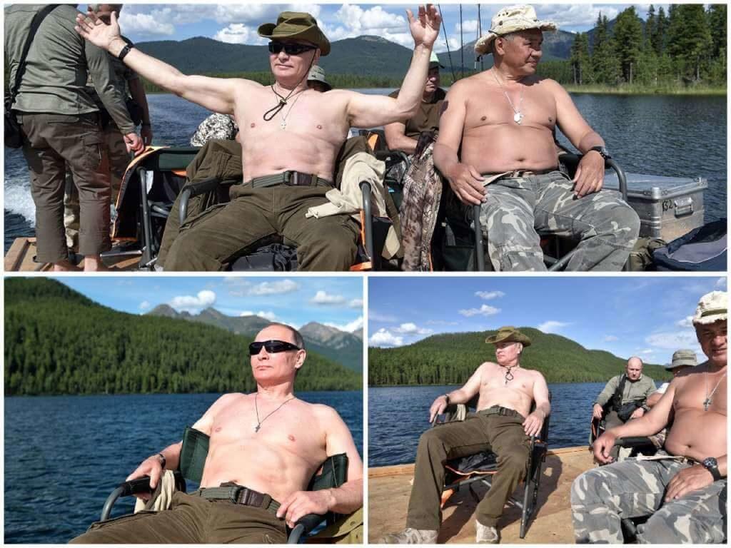 На фото Путин загорает.