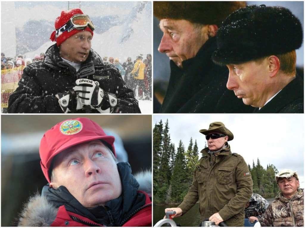 На фото головные уборы Путина.