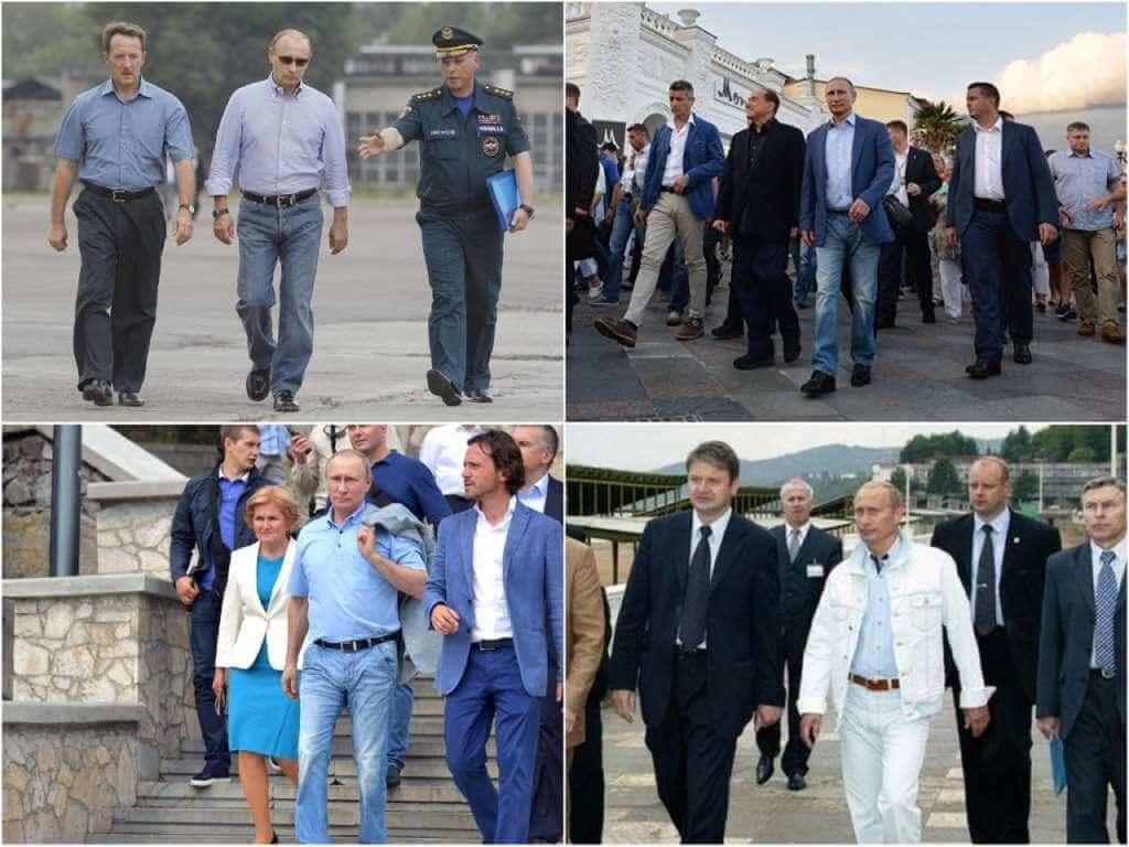 На фото Путин в джинсах.
