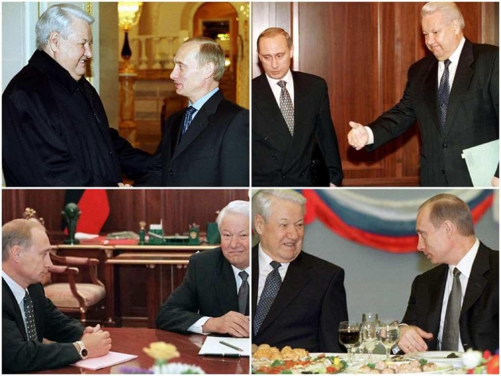 На фото Путин и Ельцин.