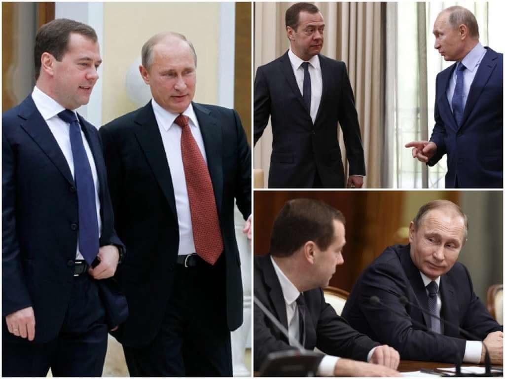 На фото Путин и Медведев.