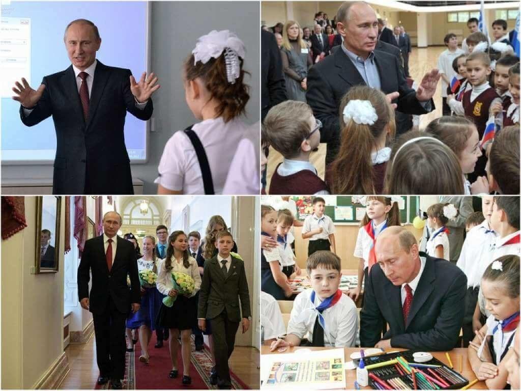 На фото Владимир Путин общается с учениками.