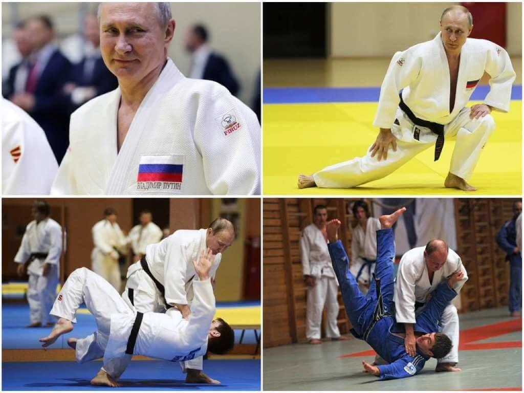 На фото Путин занимается дзюдо.