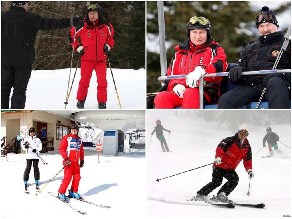 На фото Владимир Путин на лыжах.