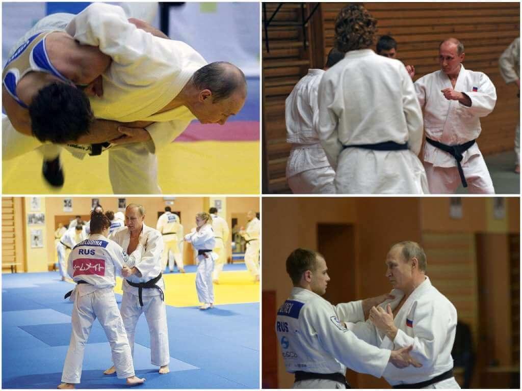 На фото Путин занимается борьбой.