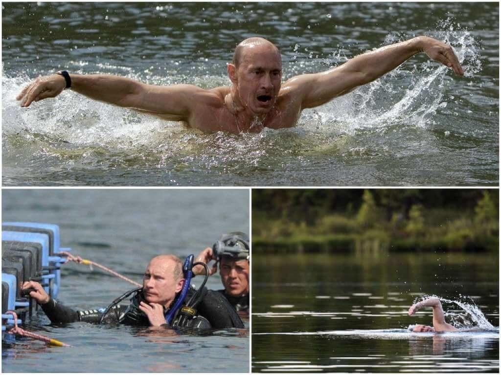 На фото Путин плавает.