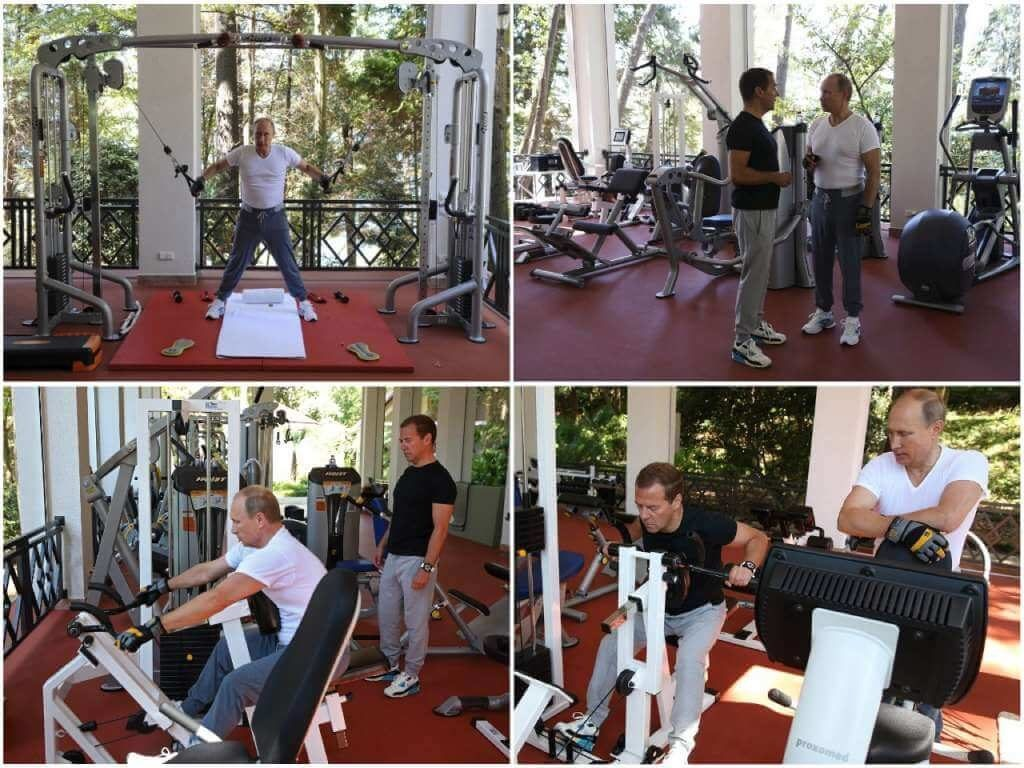 На фото Путин занимается спортом на тренажерах.