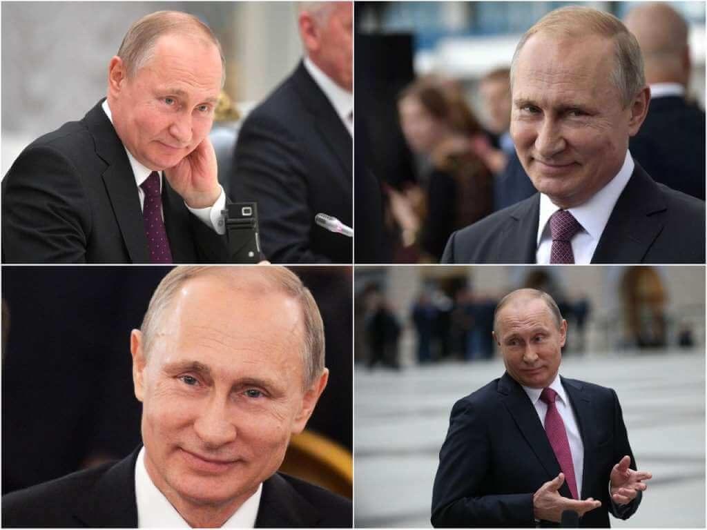 На фото Путин улыбается.