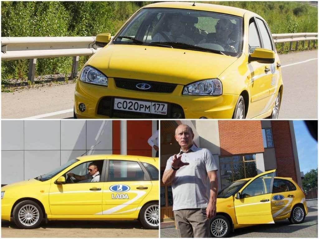 На фото Путин на желтой Ладе.