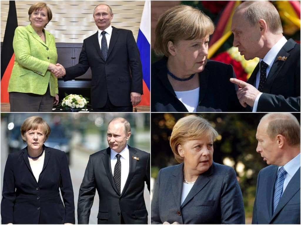 На фото Ангела Меркель и Владимир Путин.