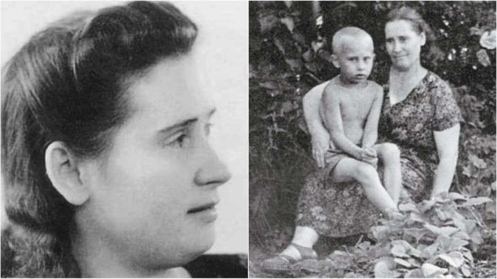 На фото Владимир Путин в молодости и его мать.
