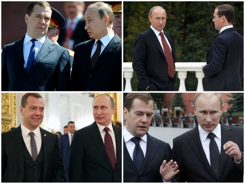 На фото Медведев и Путин.