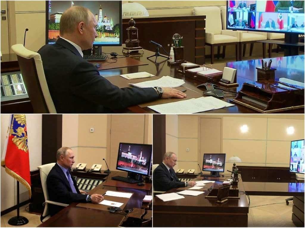 На фото Путин на онлайн совещании.