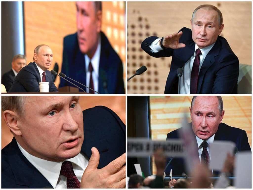 На фото Владимир Путин на пресс-конференции (часть 2).