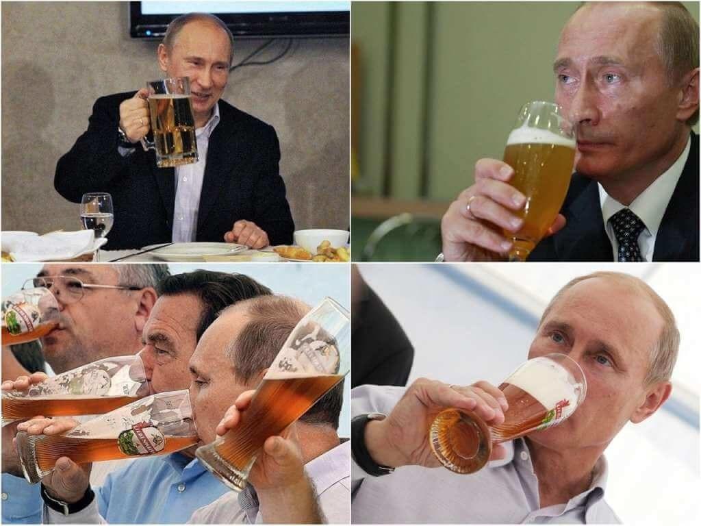 На фото Путин пьет пиво.