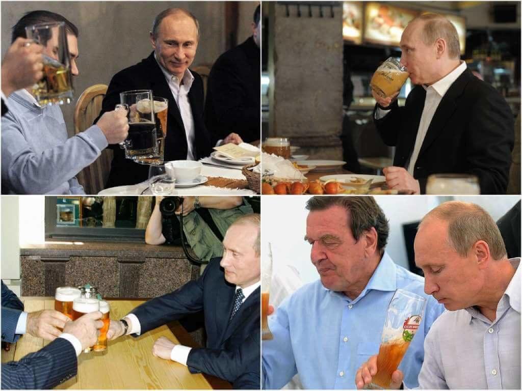 На фото Владимир Путин с пивом.