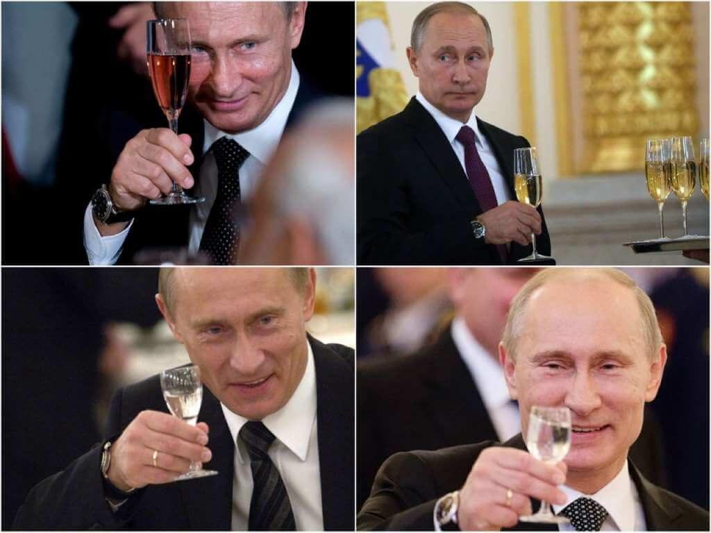 На фото Путин пьет алкогольные напитки.