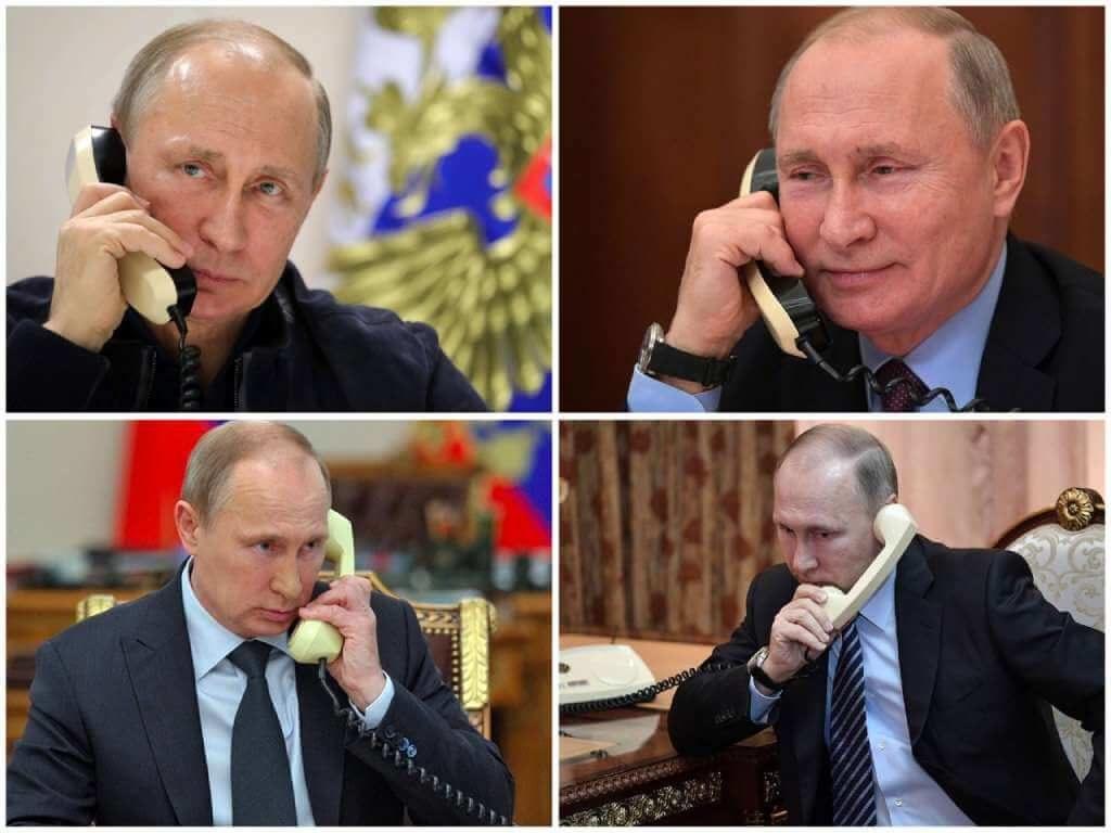 На фото Владимир Путин говорит по телефону (часть 2).