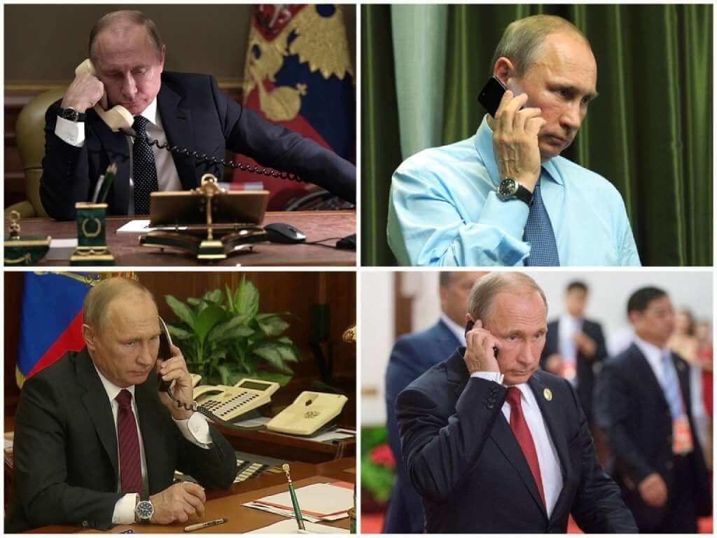 На фото Владимир Путин говорит по телефону (часть 1).
