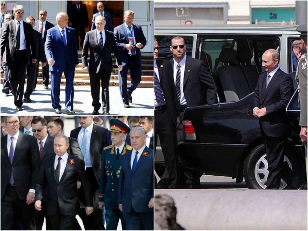 На фото Владимир Путин с охраной (часть 2).