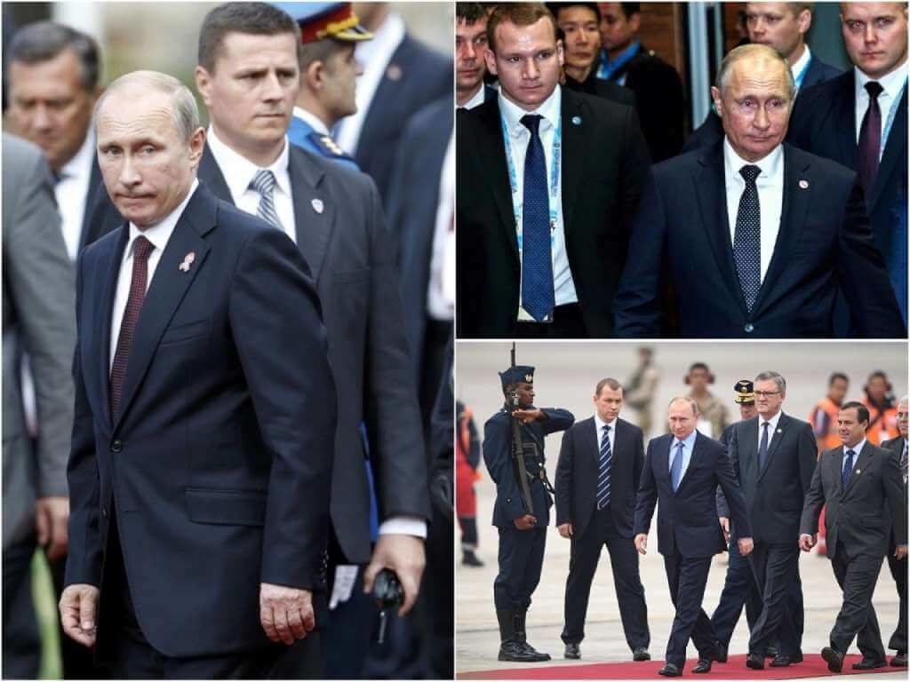 На фото Владимир Путин с охраной (часть 1).