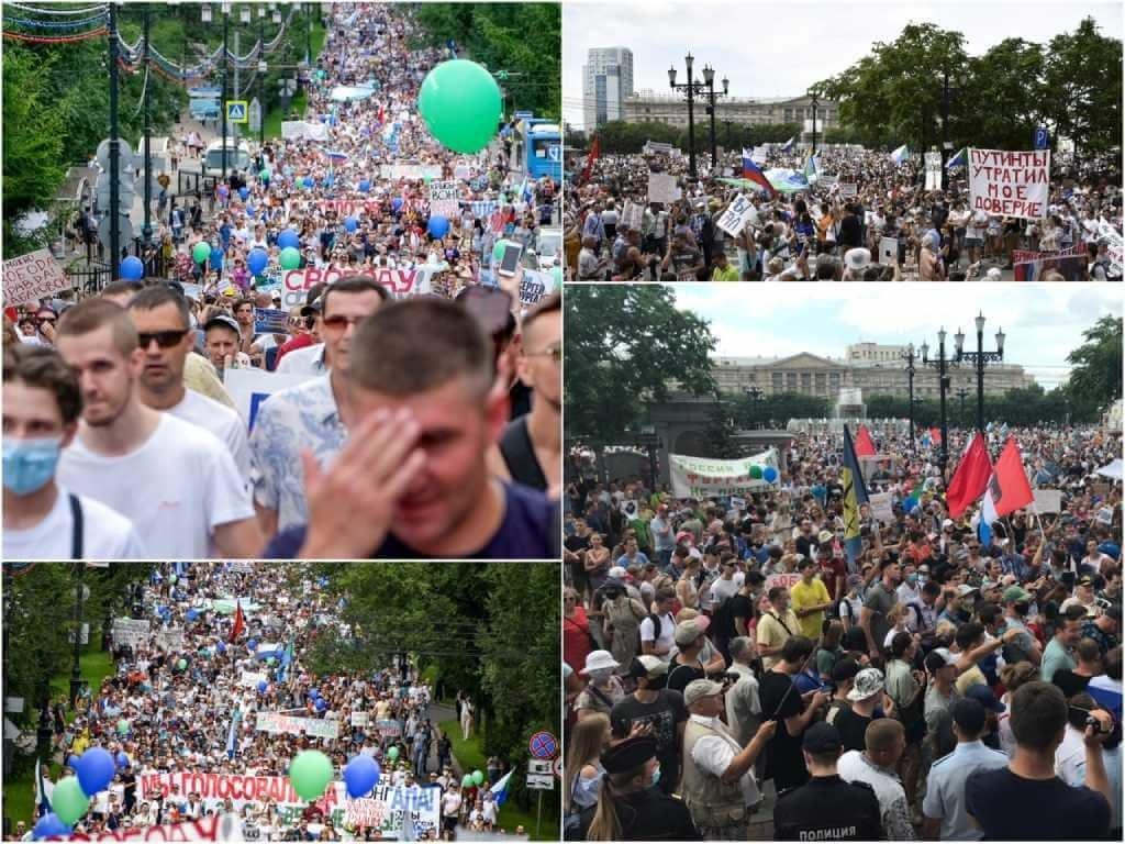 На фото изображены акции протеста в Хабаровске.