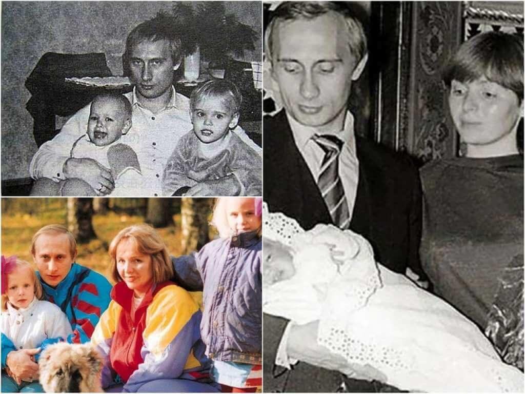 На фото Путин с бывшей женой и детьми.
