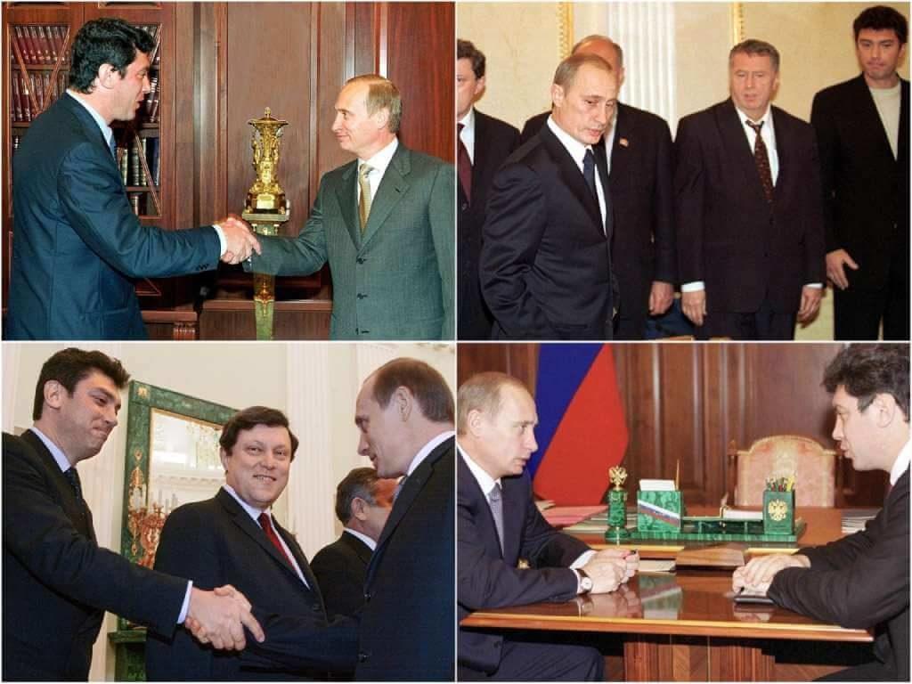 На фото Владимир Путин и Борис Немцов.