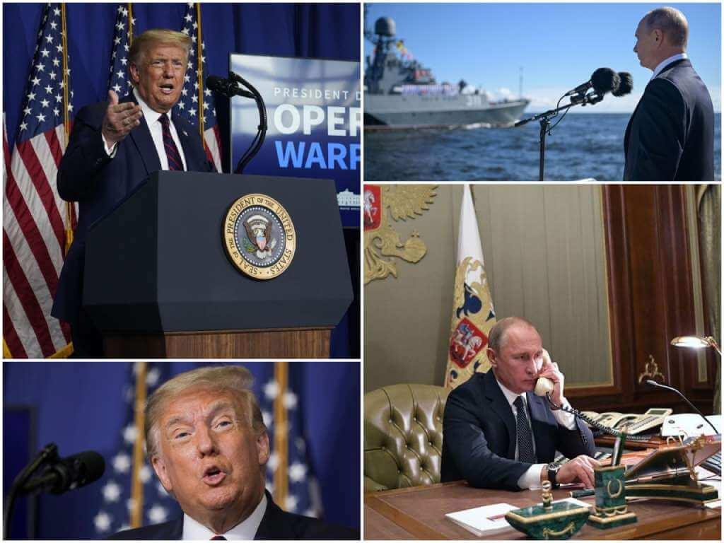 На фото Дональд Трамп (слева) и Владимир Путин (справа).
