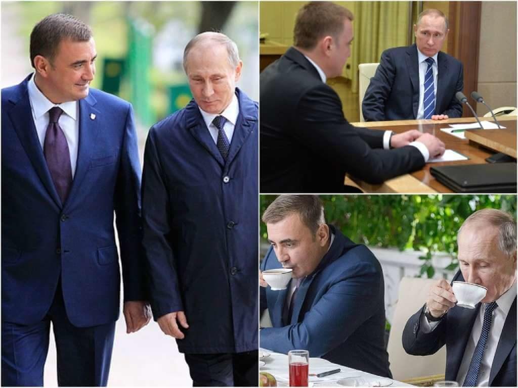 На фото Владимир Путин и Алексей Дюмин.
