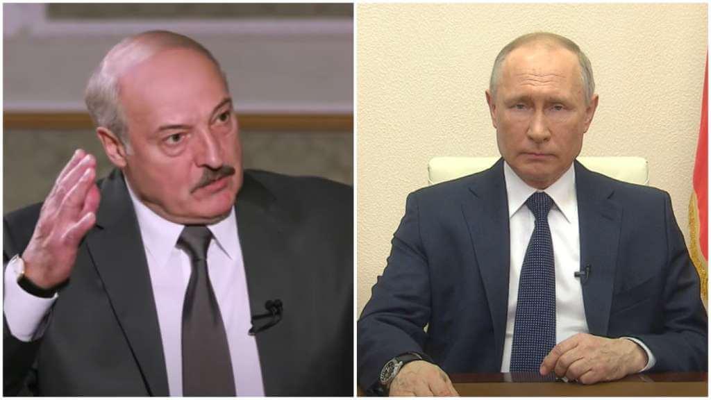 На фото Лукашенко (слева) и Путин (справа).