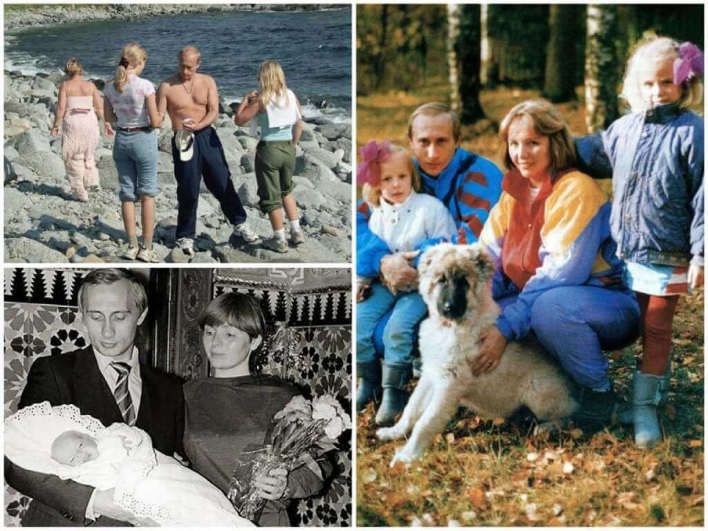 На фото Владимир Путин и его дочки.