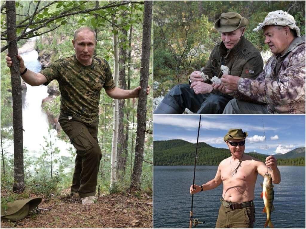 На фото Путин отдыхает в Туве (2017).
