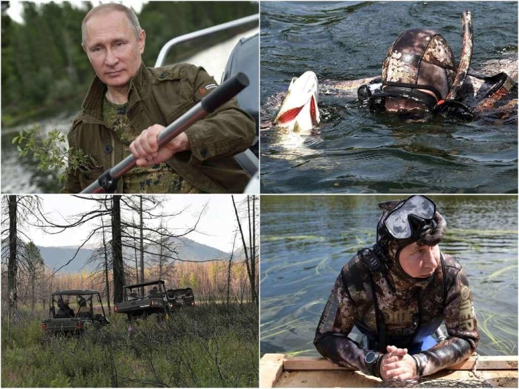 На фото изображен Владимир Путин на отдыхе в Туве (2017).