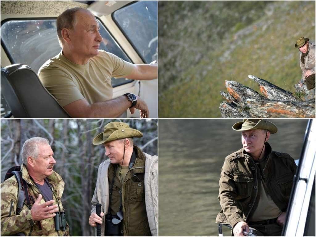 На фото Владимир Путин отдыхает в Туве в 2018-ом году (часть 1).